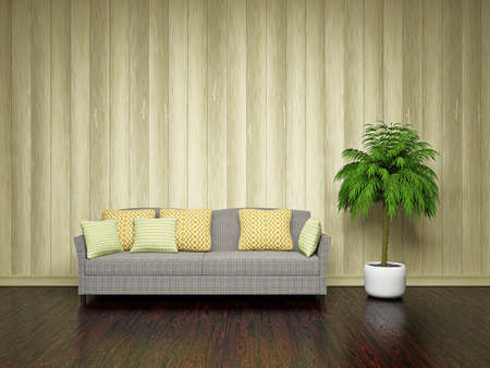 Sofa and plant near the wooden wall photo