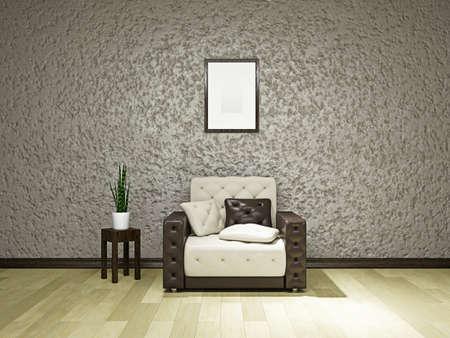 Livingroom with armchair near the wall Stock Photo - 19475524