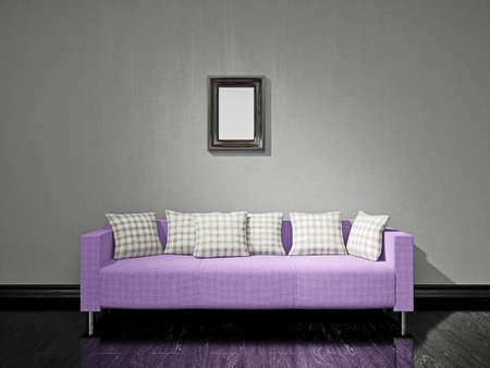 Violet sofa with pillows near the old wall photo