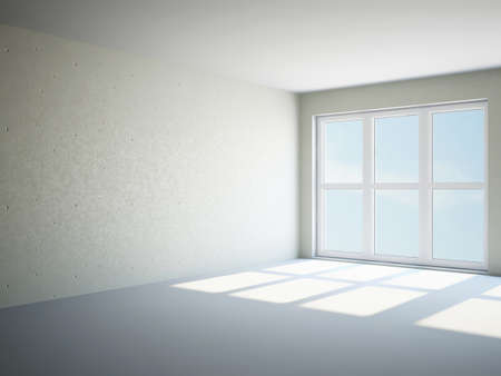 panoramic windows: Empty room with cement wall and panoramic windows Stock Photo