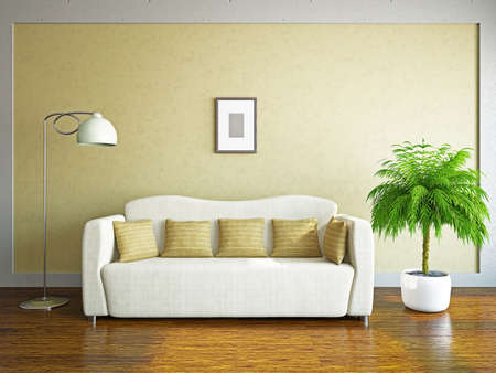Livingroom with sofa near the wall Stock Photo - 19475555