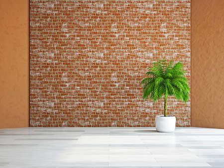 A  green plant near the brick wall Stock Photo - 19620160