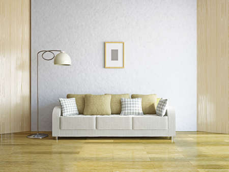 Livingroom with sofa near the wall Stock Photo - 19620158