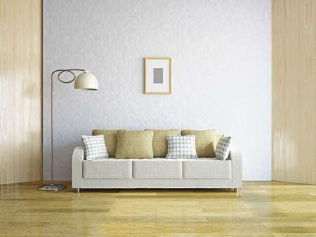 divano: Soggiorno con divano vicino al muro