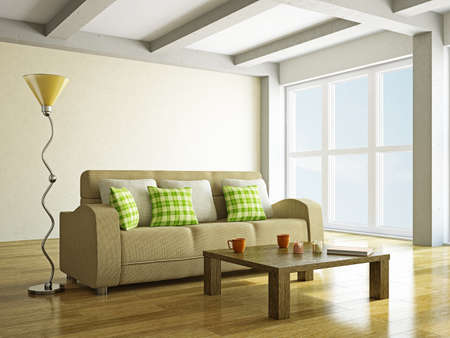 Brown sofa with pillows in the room