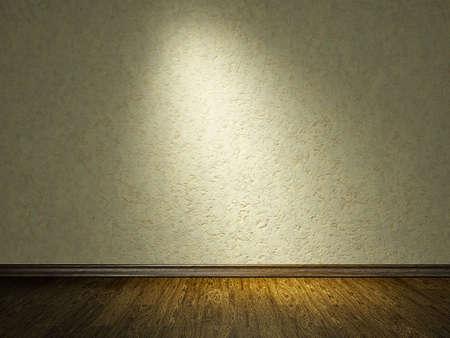 muro: Il vecchio muro di cemento grigio e pavimento in legno