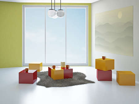 Creative color room  with big panoramic window photo