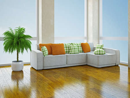 White sofa with green and orange pillows in the room Stock Photo - 19620183