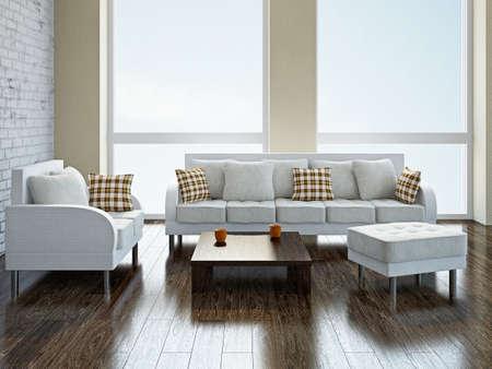 방에 흰색 소파와 안락 의자 스톡 콘텐츠