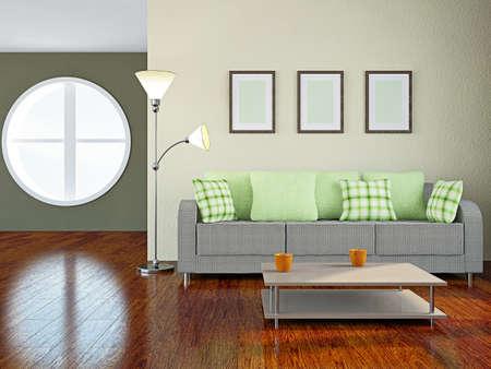 방에 녹색 베개와 소파