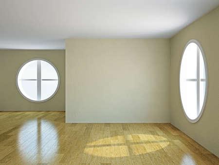 The empty room with big  round windows Фото со стока