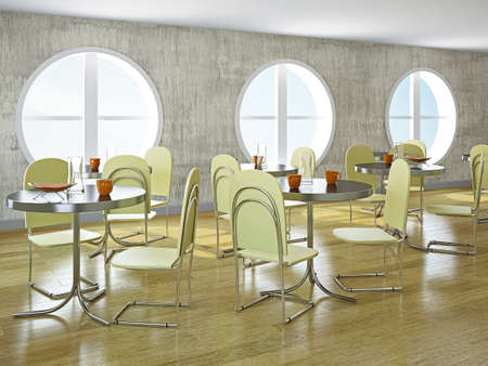 Cafe with big round windows and furniture photo