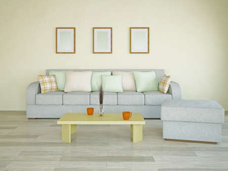 Sofa with green and orange pillows in the room