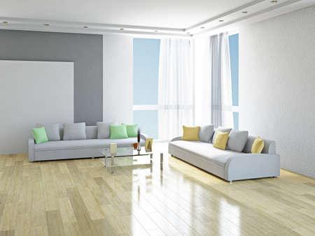 방에 녹색과 노란색 베개와 화이트 소파 스톡 콘텐츠