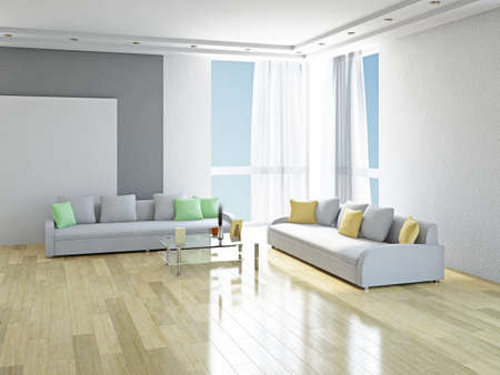White sofas with green and yellow pillows in the room Standard-Bild