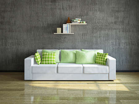 White sofa with pillows near the concrete wall photo