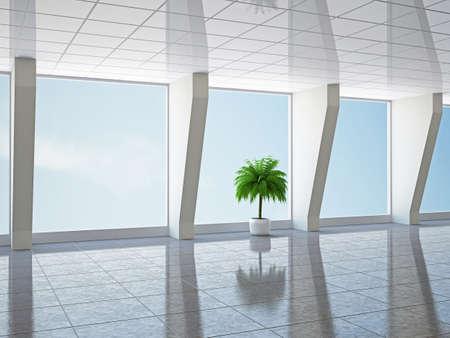 big windows: The big hall with columns and  windows