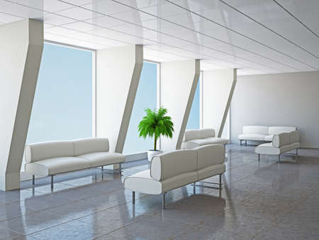business lounge: The big hall with columns and sofas