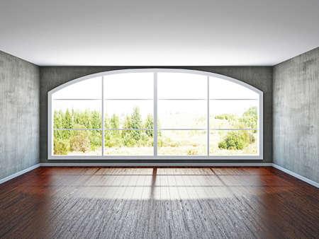 오래 된 벽의 창 빈 방