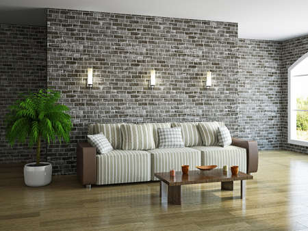 Livingroom with sofa near the brick wall