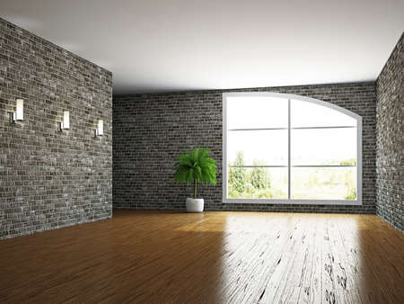 commercial real estate: The empty room with brick wall and a window