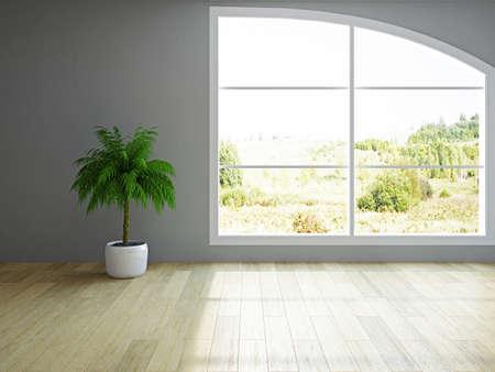 회 반죽 벽 근처 녹색 식물