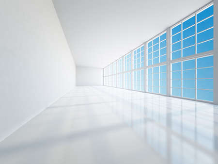 The empty long corridor with large windows photo