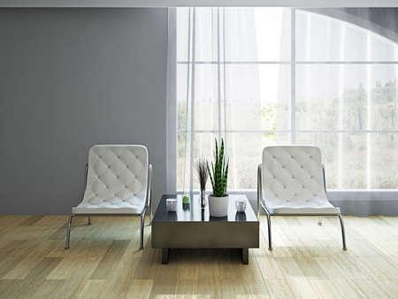 창 근처에 흰색 가죽 안락 의자