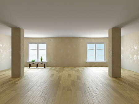 commercial real estate: The empty room with  columns and windows Stock Photo