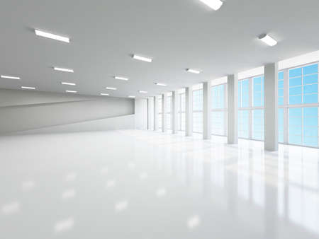 The empty corridor with columns and large windows