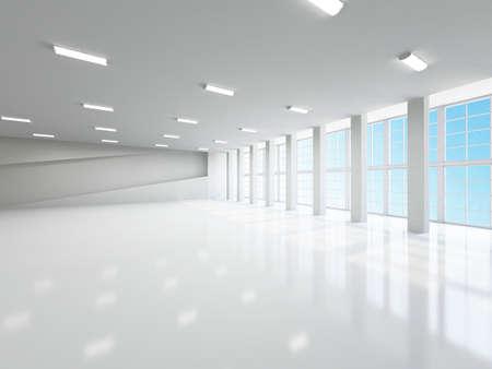 corridoi: Il corridoio vuoto con colonne e grandi finestre Archivio Fotografico