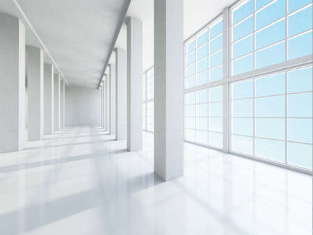 public hospital: The empty corridor with columns and large windows