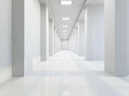 vestibulos: El largo pasillo vac�o con grandes columnas