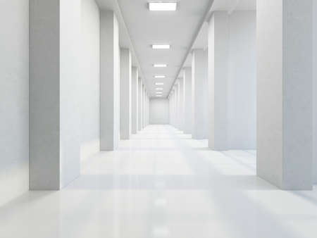 building feature: The empty long corridor with large columns Stock Photo