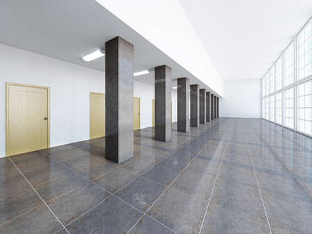 architectural feature: The empty long corridor with large windows Stock Photo