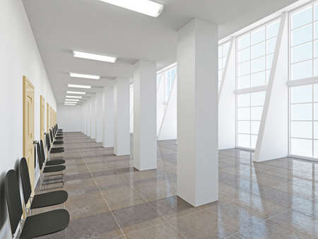 The empty long corridor with large windows 스톡 콘텐츠