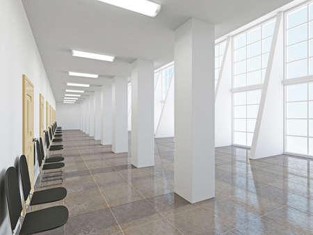 The empty long corridor with large windows Standard-Bild