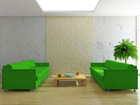 Livingroom with sofas near the stucco wall Stock Photo - 20411620
