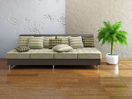 Sofa with pillows near the concrete wall photo
