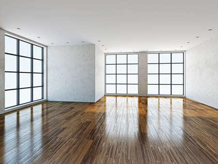 치장 용 벽 토 벽과 큰 창문이 빈 방