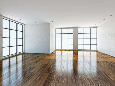 The empty room with stucco wall and a big  windows Stockfoto