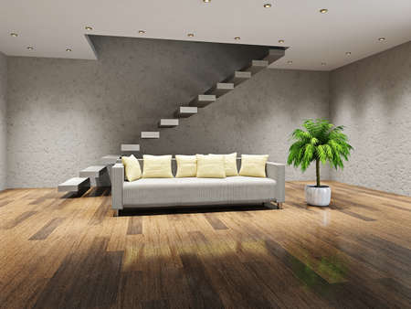 Sofa with pillows near the concrete ladder photo