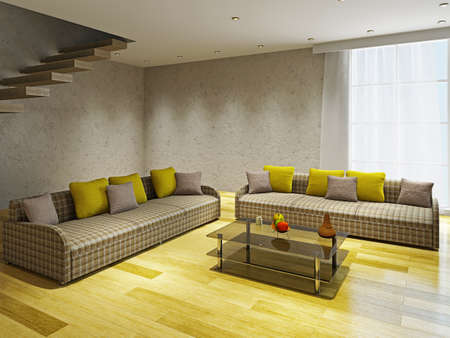 Livingroom  with two sofas near the concrete ladder photo