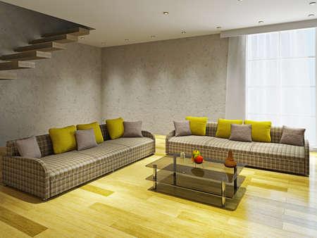 Livingroom  with two sofas near the concrete ladder Standard-Bild