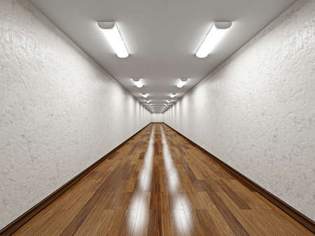 The empty long corridor with concrete wall photo