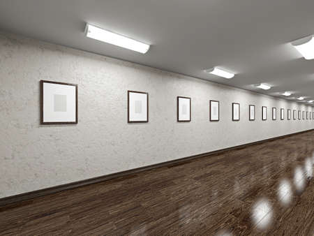 Long gallery with blank pictures on the wall Stock Photo - 20478687