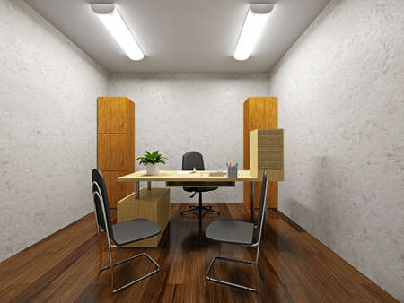 office lighting: A small office with a table and chairs