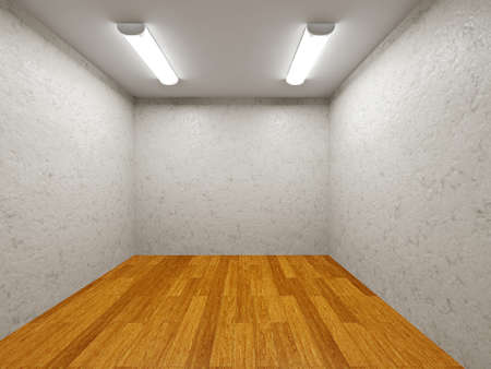 office ceiling: The small room with cement walls and a lamp Stock Photo