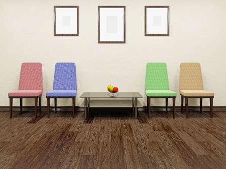 콘크리트 벽 근처 테이블 및 색상 의자