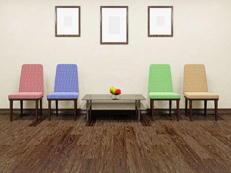 lobbies: Table and color chairs near a concrete wall Stock Photo
